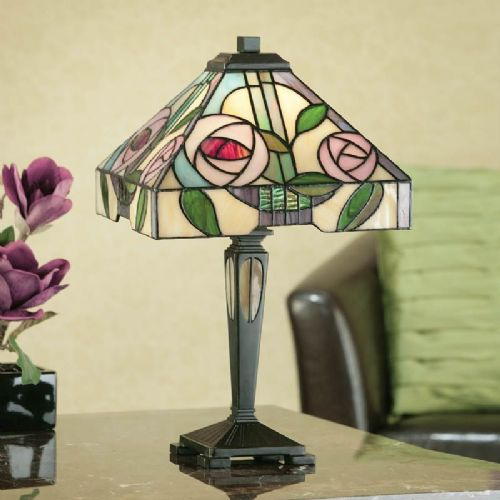 Willow Small Table Lamp (Art Nouveau, Mackintosh, Nature, Small Table Lamp) TG106ST (Tiffany style)
